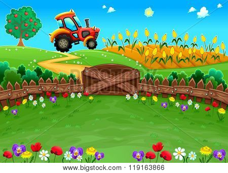 Funny landscape with tractor and cornfield. Cartoon vector illustration