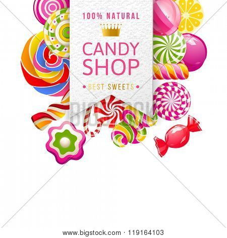 Paper candy shop label with type design and candies