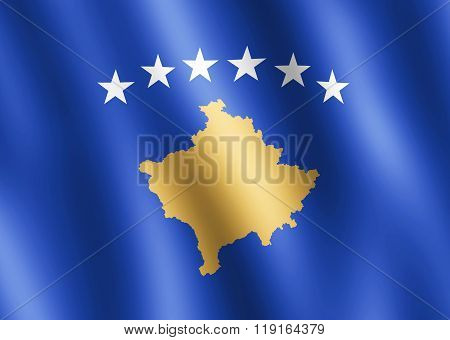 Flag Of Kosovo Waving In The Wind