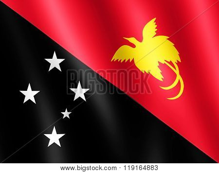 Flag Of Papua New Guinea Waving In The Wind