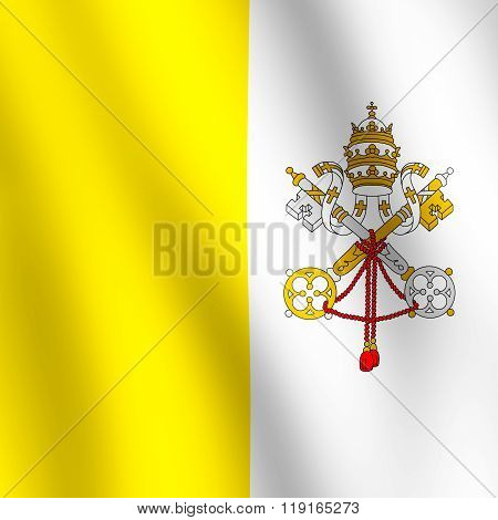 Flag Of Vatican City State Waving In The Wind