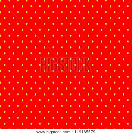 Strawberry Seamless Pattern With Seeds. Fruit Flavor Background Texture.