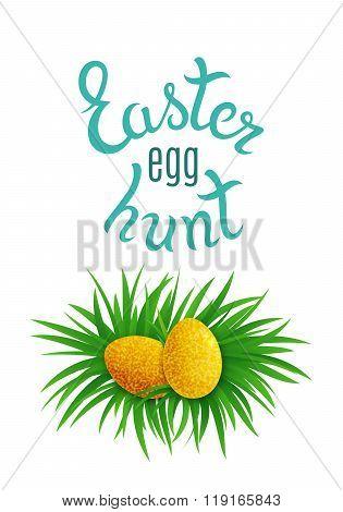 Gold Easter Eggs Hidden In Grass