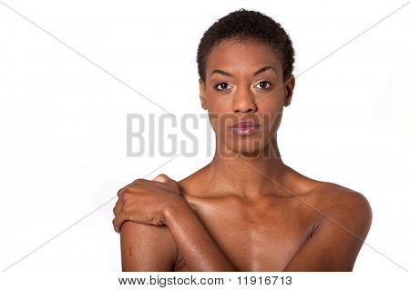 Pretty African American woman with short hair