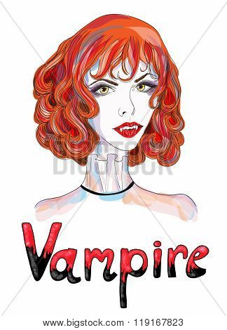 Portrait of a vampire girl with red hair