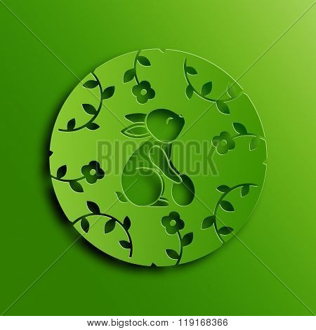 Vector Traditional Easter Rabbit Paper Cutting