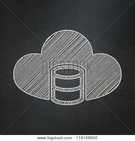 Software concept: Database With Cloud on chalkboard background