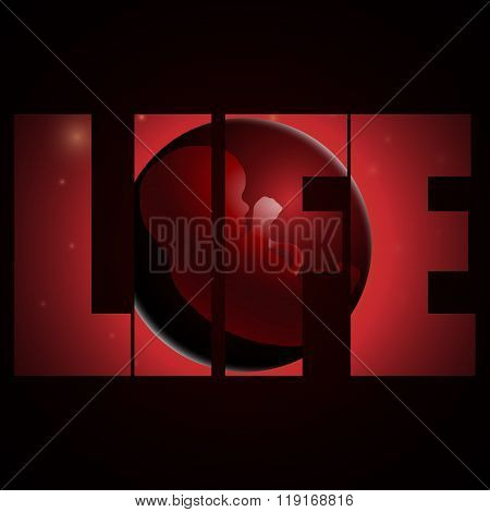 vector illustration of embryo, germ design, baby, fetus concept, nucleus, life, logo, life logo
