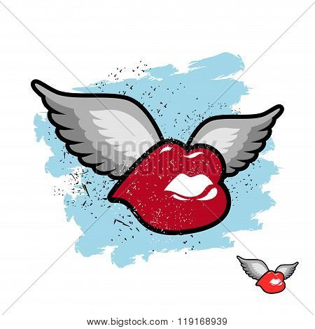 Kiss With Wings. Flying Lips. Emblem Grunge Lovers. Juicy Red Lips Fly For Kiss.