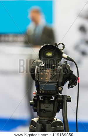 Video Camera At Press Conference