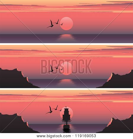 Set horizontal banners of sunset over the sea. Sunset over the sea. Ship at sunset. Ship at sunrise.
