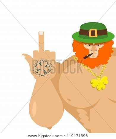 Bad Leprechaun Shows Fuck. Old Grandfather With Cigar And Green Hat. Tattoo Four Listnyj Clover. Big