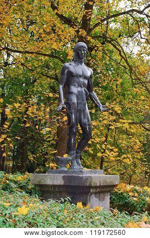Bila Tserkva, Ukraine: September, 2013 - Statue in the arboretum