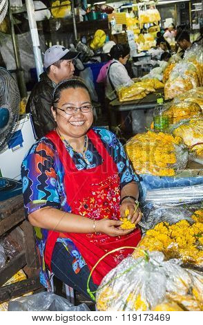 Women Selling Fresh Flowers At The Morning Market Pak Khlong Thalat
