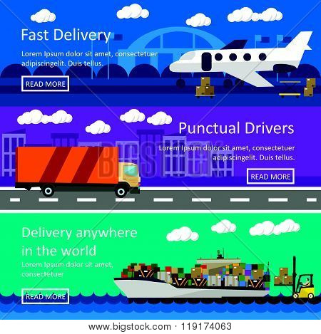 Set of transportation banners in flat style design. Logistics and delivery concept vector illustrati