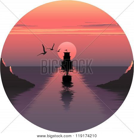 Vector horizontal illustration of sunset over the sea and ship. beautiful sunrise at the sea. the sh