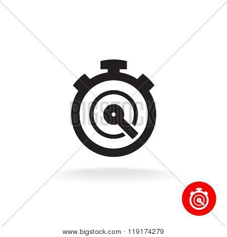 Stopwatch Timer Simple Black Vector Icon. Timer Logo.