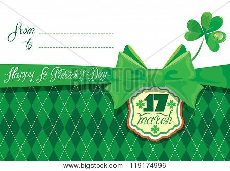 Horizontal Holiday Card With Calligraphic Words Happy St. Patrick`s Day With Green Bow, Shamrock And