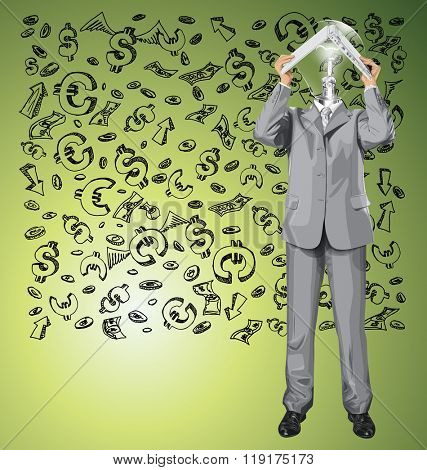 Vector lamp head business man hides under the laptop in his hands against money sketch