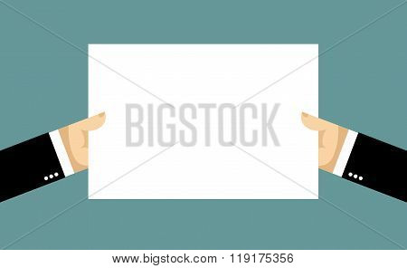 Businessman Hands And Billboard. Two Hands Hold White Sheet Of Paper. Blank Banner Space For Your Te