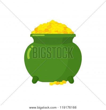 Pot Of Gold. Green Big Mythical Pot With Full Gold Coins. Lot Of Money In Pot. Bunch Of Cash Fairy E