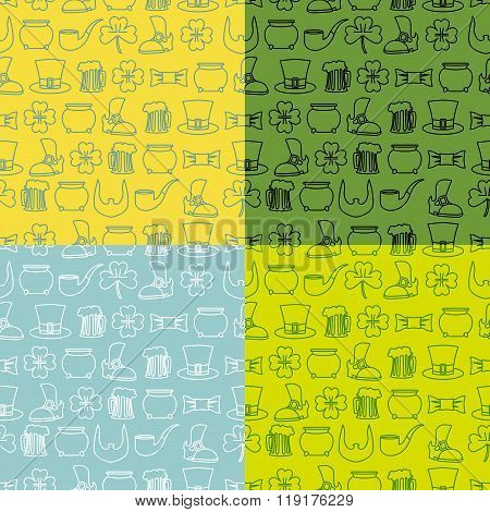 Patricks Day Seamless Pattern. Set Of Backgrounds Fo  Holiday In Ireland. Pot Of Gold And Four Lfour