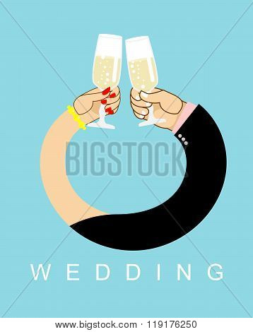 Wedding. Hands Entwined, Men And Women In  Ring. Drink Champagne Out Of Glasses. Newlyweds Drink Win
