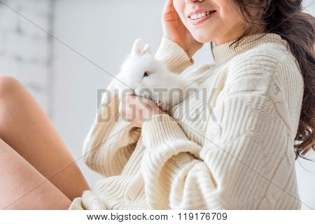woman with rabbit