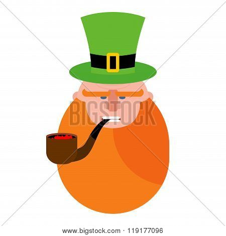 Leprechaun With Red Beard. Portrait Of Angry Leprechaun. Pipe And Green Hat Cylinder. Serious Leprec