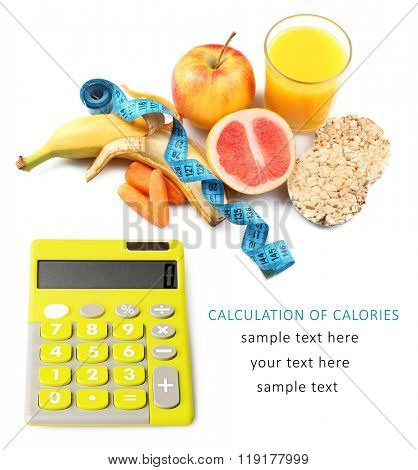 Calculator with fruits and crispbread isolated on white with space for your text