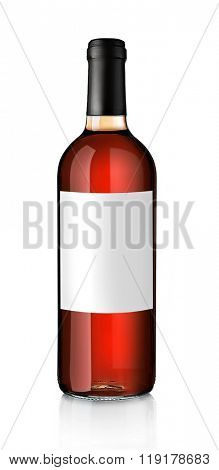 Bottle of pink wine with empty label, isolated on white