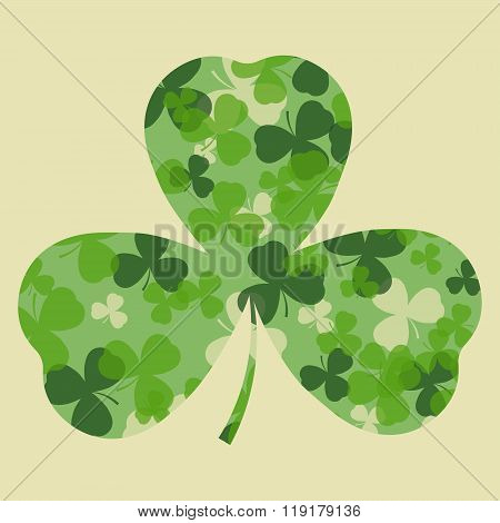 Vector St Patrick's day card. Green clover leaves on clover leaf shape and white or beige background