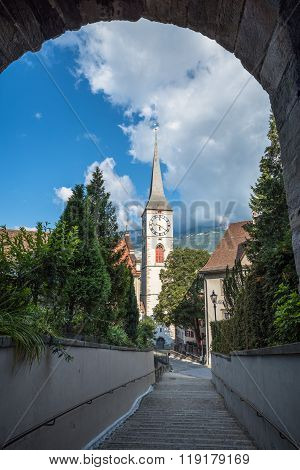 St.martin Church In Chur, The Oldest Town Of Switzerland