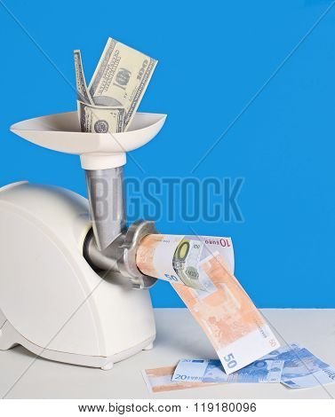 Money Coming Into The Meat Grinder And Come Out