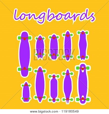 longboard shapes and types on a colored background