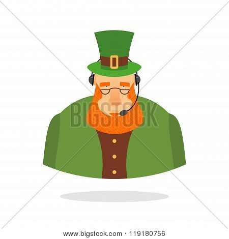 Saint Patrick Call Center. Leprechaun And Headset. Leprechaun Responds To Phone Calls. Customer Serv