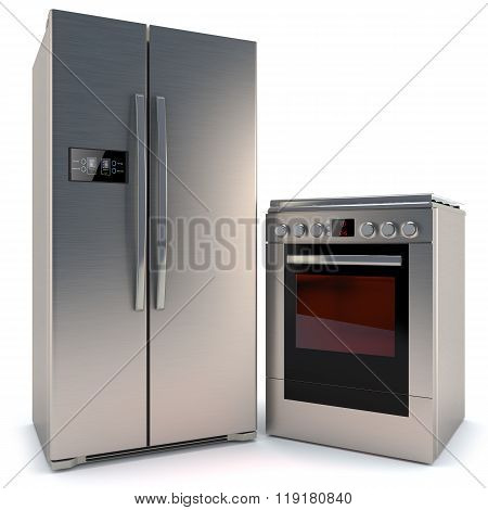 Refrigerator With A Display And Gas Stove With Oven Isolated On White Background