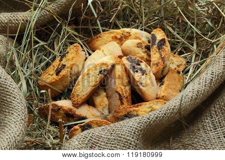 Biscotti with chocolate and almonds