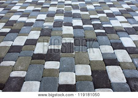 variegated tile texture stones square, brick worm on walkway