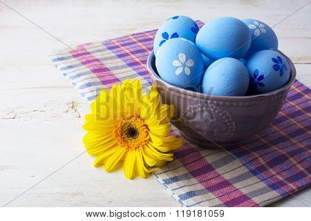 Light Blue Decorated Easter Eggs