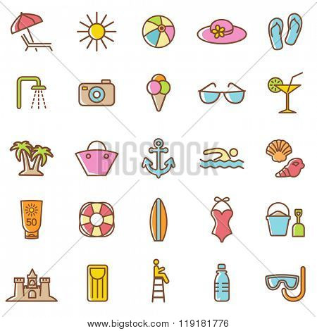 Beach  icons set.Vector