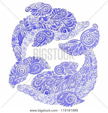 Watercolor Dolphin Doodle Mehndi Ethnic Illustration
