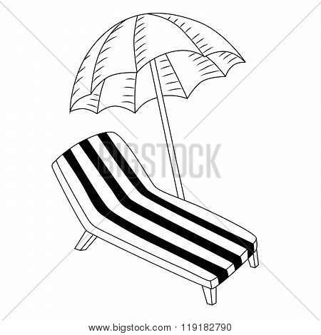Vacation deck chair umbrella black white isolated illustration vector