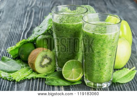 Fresh Green Smoothie From Fruit And Vegetables