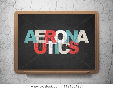 Science concept: Aeronautics on School Board background