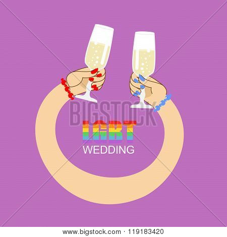 Lgbt Wedding. Symbol Of Wedding Of Two Women. Lesbian Wedding Feast. Female Hands Holding Glasses Wi