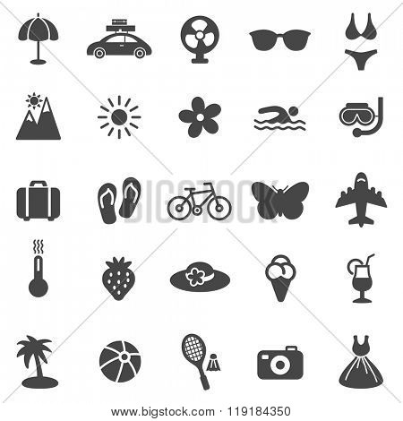 Summer black icons set.Vector