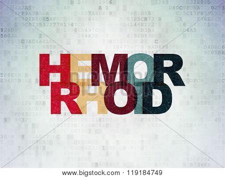 Medicine concept: Hemorrhoid on Digital Paper background