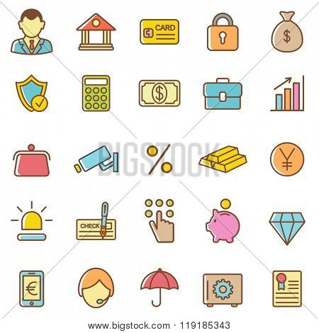 Bank icons set.Vector