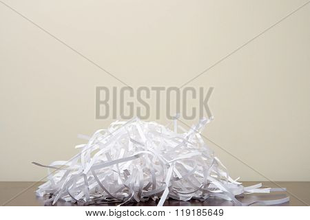 Shredded paper on desk
